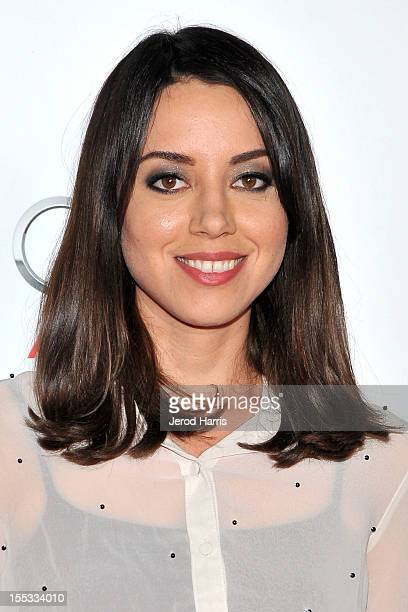 Actress Aubrey Plaza arrives at the Los Angeles Times Young Hollywood Panel at Grauman's Chinese Theatre on November 2, 2012 in Hollywood, California.