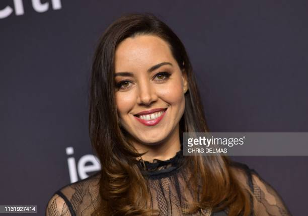 US actress Aubrey Plaza arrives for the PaleyFest presentation of NBC's Parks and Recreation 10th Anniversary Reunion at the Dolby theatre on March...