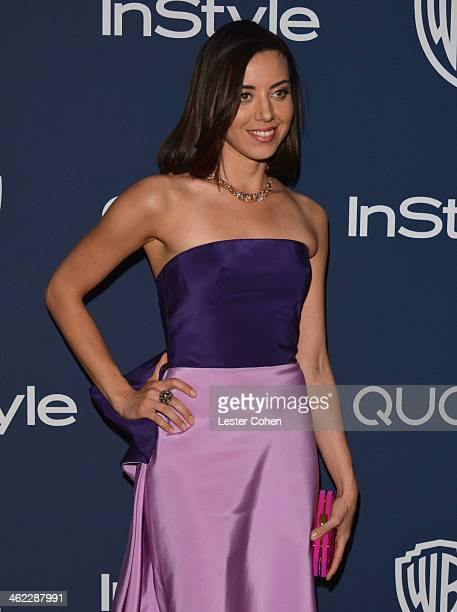 Actress Aubrey Plaza attends the 2014 InStyle And Warner Bros 71st Annual Golden Globe Awards PostParty held at The Beverly Hilton Hotel on January...
