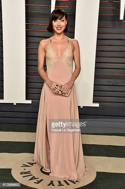 Actress Aubrey Plaza attends the 2016 Vanity Fair Oscar Party Hosted By Graydon Carter at the Wallis Annenberg Center for the Performing Arts on...