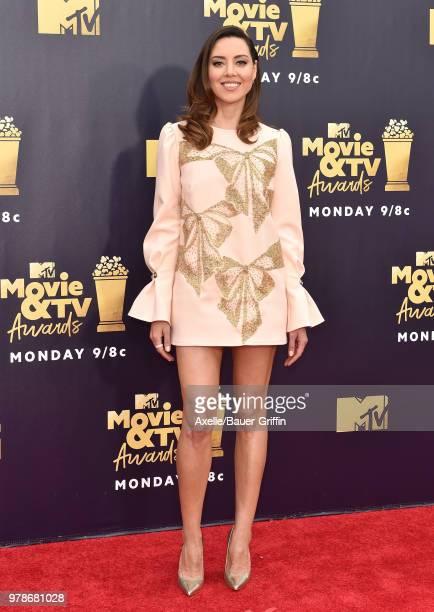 Actress Aubrey Plaza attends the 2018 MTV Movie And TV Awards at Barker Hangar on June 16 2018 in Santa Monica California