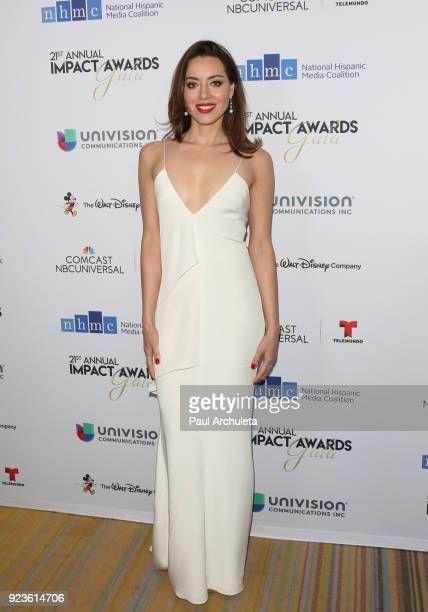 Actress Aubrey Plaza attends the National Hispanic Media Coalition's 21st annual Impact Awards at the Beverly Wilshire Four Seasons Hotel on February...