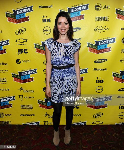 Actress Aubrey Plaza attends the screening of Safety Not Guaranteed during the 2012 SXSW Music Film Interactive Festival at Paramount Theatre on...