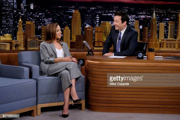 Actress Aubrey Plaza is interviewed by host Jimmy Fallon as she visits 'The Tonight Show Starring Jimmy Fallon' at Rockefeller Center on August 7...