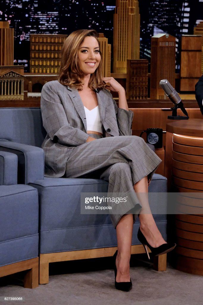 Actress Aubrey Plaza Visits 'The Tonight Show Starring Jimmy Fallon' at Rockefeller Center on August 7, 2017 in New York City.