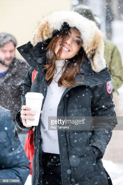 Actress Aubrey Plaza walks in Park City on January 20 2018 in Park City Utah