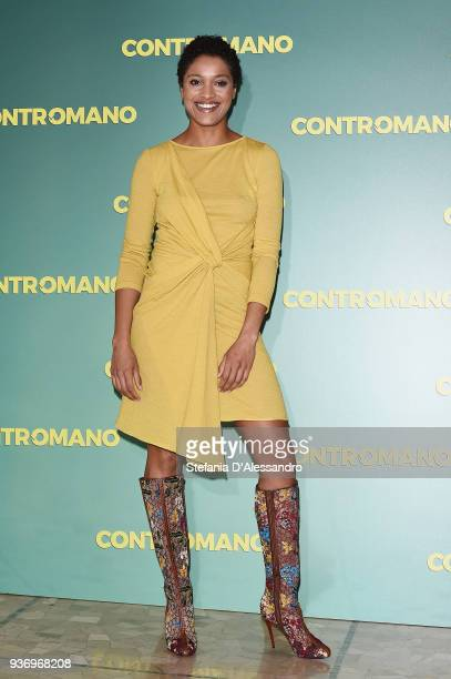 Actress Aude Legastelois attends a photocall for 'Contromano' on March 23 2018 in Milan Italy