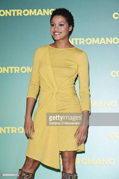 Actress Aude Legastelois attends a photocall for 'Contromano' on March 23, 2018 in Milan, Italy.