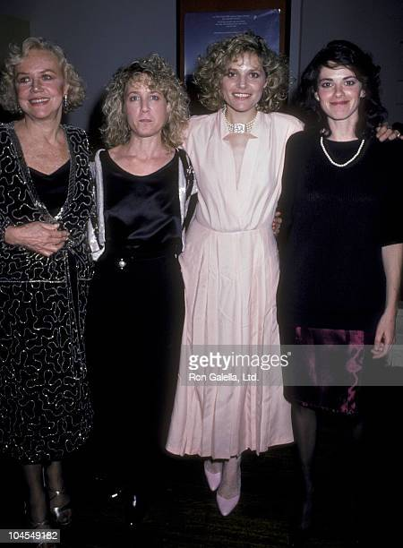 Actress Audra Lindley Helen Shaver Patricia Charbonneau and guest attend the screening of Desert Hearts on April 1 1986 at the Cinema II Theater in...