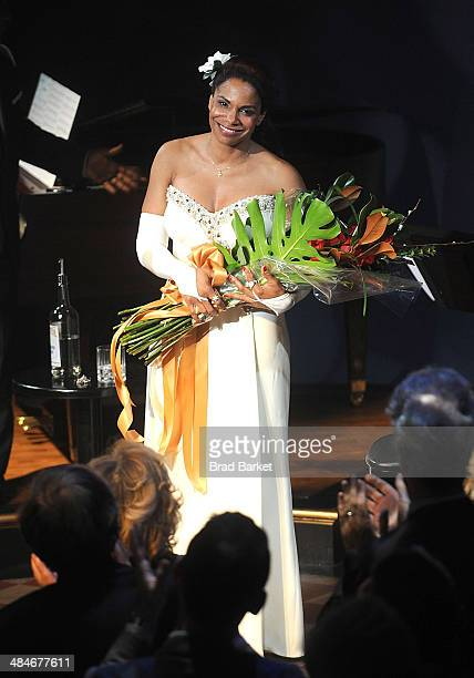 Actress Audra McDonald appears onstage during the 'Lady Day At Emerson's Bar Grill' opening night curtain call at Circle in the Square on April 13...