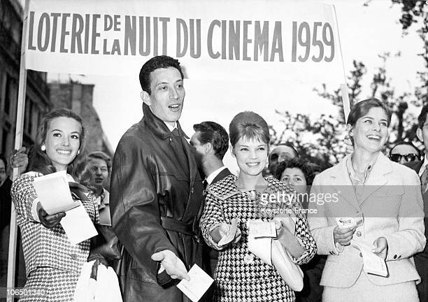 Actress Audret Philippe Clay Agnes Laurent And Juliette Mayniel Giving Out Their Last Tombola Tickets Over The ChampsElysees On May 10Th 1959