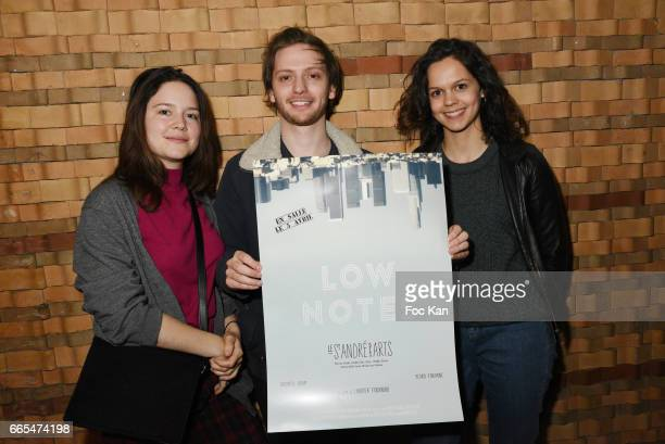 Actress Audrey Bastien director Laurier Fourniau and actress Delia Espinat Dief attend 'Low Notes' Film Screening at Cinema Saint Andre des Arts on...
