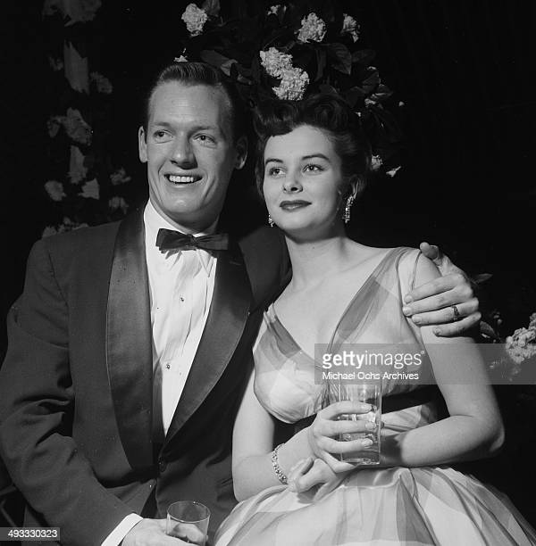Actress Audrey Dalton with husband Jim Brown attend a wedding in Los Angeles California