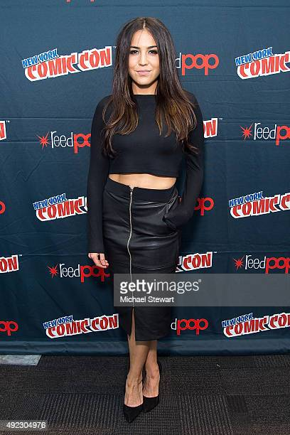 Actress Audrey Esparza poses in the press room for the Blindspot panel during ComicCon Day 4 at The Jacob K Javits Convention Center on October 11...