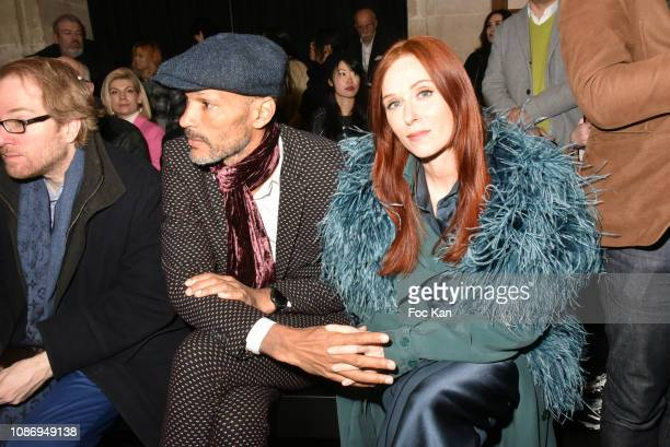 Actress Audrey Fleurot and her compagnon Djibril Glissant attend the Julien Fournie Haute Couture Spring Summer 2019 show as part of Paris Fashion...