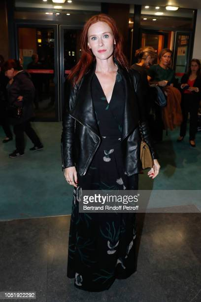 """Actress Audrey Fleurot attends """"Le Banquet"""" Theater play at Theatre du Rond-Point on October 11, 2018 in Paris, France."""