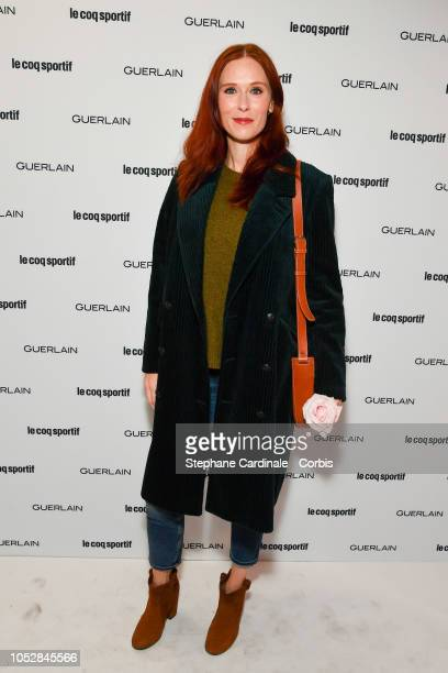 Actress Audrey Fleurot attends the Le Coq Sportif x Guerlain launch collection at Maison Guerlain on Champs-Elysees Avenue on October 23, 2018 in...