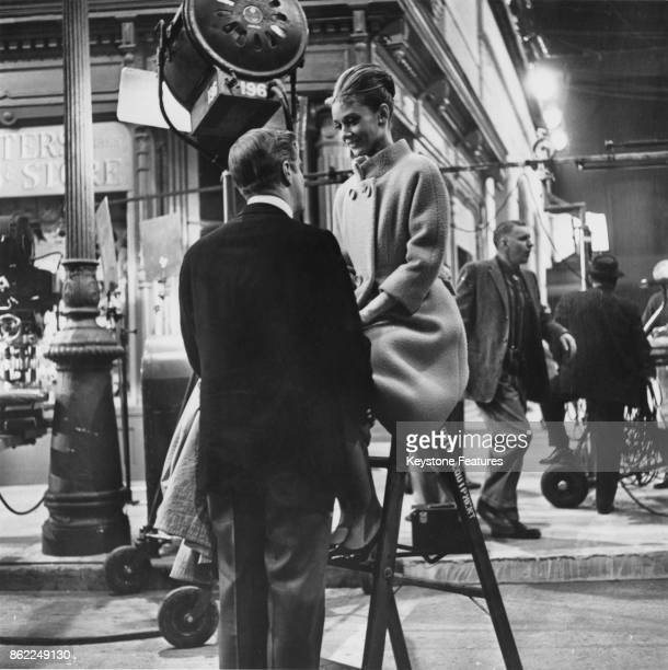 Actress Audrey Hepburn and actor George Peppard on the set of the film 'Breakfast at Tiffany's', June 1961.