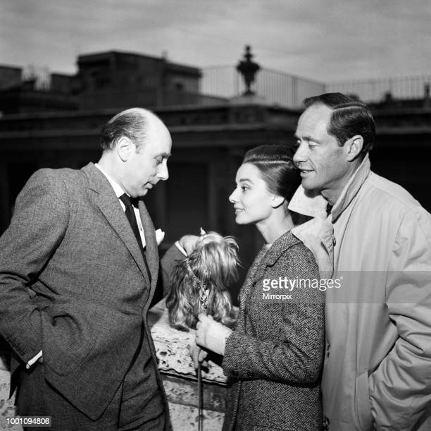 Actress Audrey Hepburn and her husband Mel Ferrer photographed in Rome Also with them is Daily Mirror journalist Donald Zec 8th January 1960