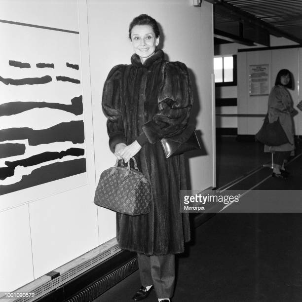 Actress Audrey Hepburn at an airport April 1984