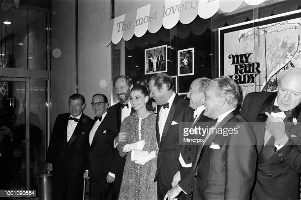 Actress Audrey Hepburn at the premiere of My Fair Lady in New York Also pictured are Mel Ferrer Rex Harrison Jack L Warner and Cecil Beaton 21st...