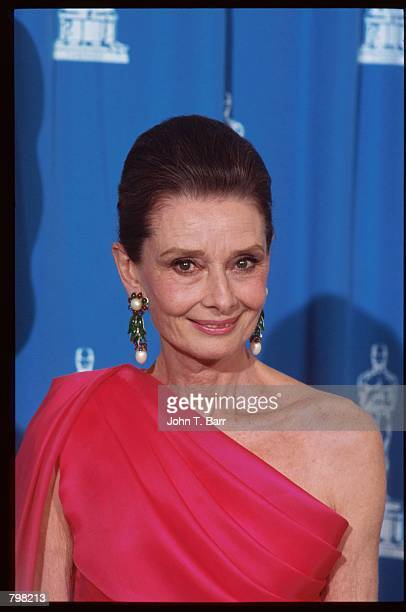 Actress Audrey Hepburn stands at the 64th annual Academy Awards March 30 1992 in Los Angeles CA The Academy of Motion Picture Arts and Sciences...