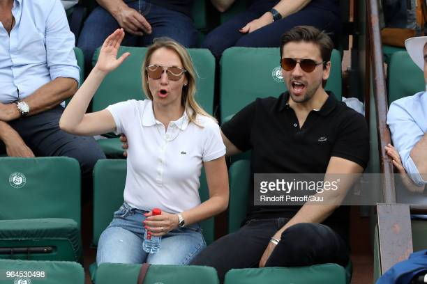 Actress Audrey Lamy and boyfriend Thomas Sabatier attend the 2018 French Open Day Five at Roland Garros on May 31 2018 in Paris France