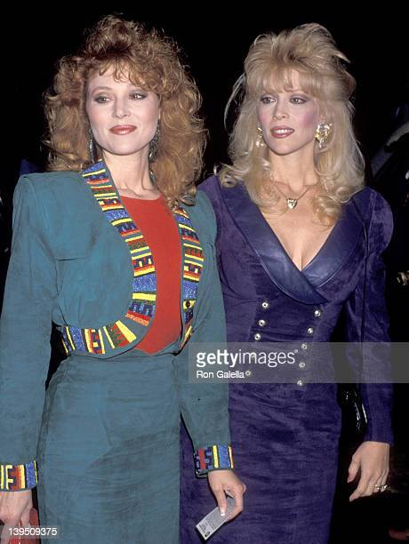 Actress Audrey Landers and actress Judy Landers attend the Alzado's Restaurant Grand Opening Celebration on February 26 1990 at Alzado's Restaurant...