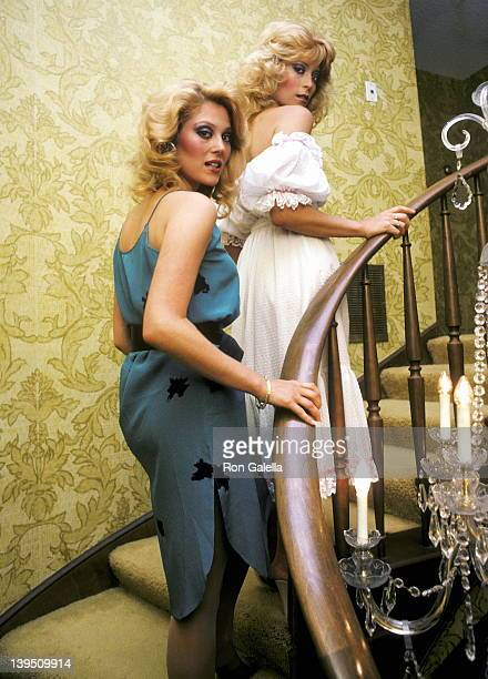 Actress Audrey Landers and actress Judy Landers on April 21 1982 pose for an exclusive photo session at their home in Beverly Hills California