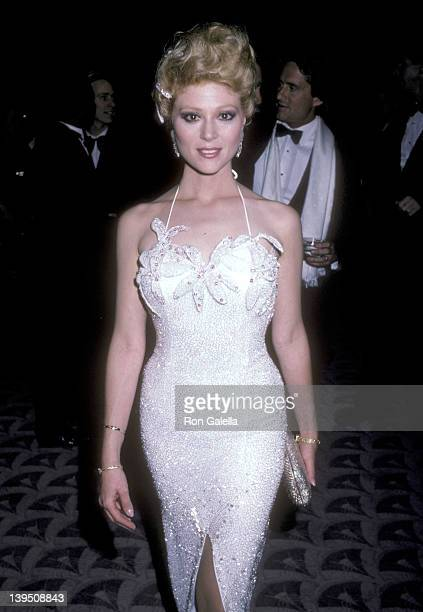 Actress Audrey Landers attends A Chorus Line Premiere Party on December 9 1985 at The WaldorfAstoria Hotel in New York City