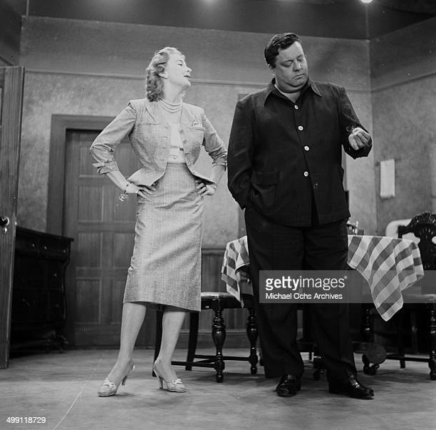 Actress Audrey Meadows and Jackie Gleason on stage during the rehearsal of the 'The Jackie Gleason Show' in Los Angeles California