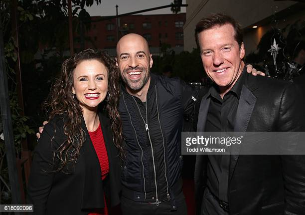 Actress Audrey Murdick singer/songwriter Chris Daughtry and ventriloquist Jeff Dunham attend the Hollywood Walk of Fame Honors at Taglyan Complex on...