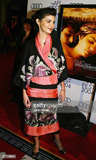 Actress Audrey Tautou arrives at the AFI Fest 2004 screening of Warner Independent Pictures' 'A Very Long Engagement' at the Chinese Theater on...