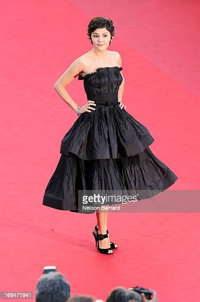 Actress Audrey Tautou arrives at Venus In Fur Premiere during the 66th Annual Cannes Film Festival at Grand Theatre Lumiere on May 25 2013 in Cannes...