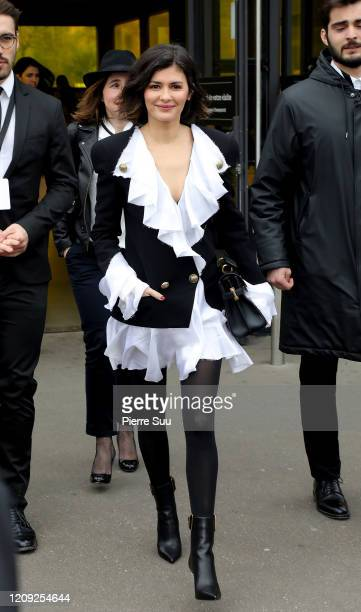 Actress Audrey Tautou attends the Balmain show as part of the Paris Fashion Week Womenswear Fall/Winter 2020/2021 on February 28, 2020 in Paris,...