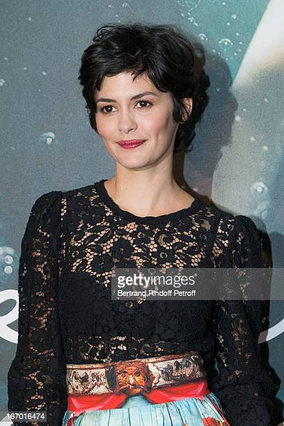Actress Audrey Tautou poses during the premiere of 'L'Ecume Des Jours' at Cinema UGC Normandie on April 19 2013 in Paris France