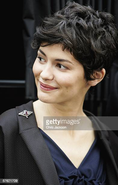 Actress Audrey Tautou smiles during a photocall for new film The Da Vinci Code at Eurostar's Waterloo International Terminal on May 16 2006 in London...