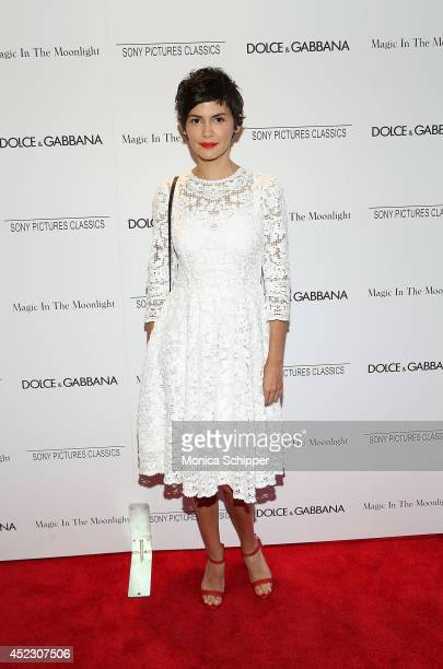 Actress Audrey Tautou wearing Dolce Gabbana attends Magic In The Moonlight premiere at Paris Theater on July 17 2014 in New York City