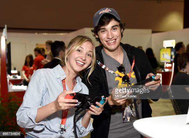 Actress Audrey Whitby and actor Joey Bragg visit the Nintendo booth at the 2017 E3 Gaming Convention at Los Angeles Convention Center on June 13 2017...