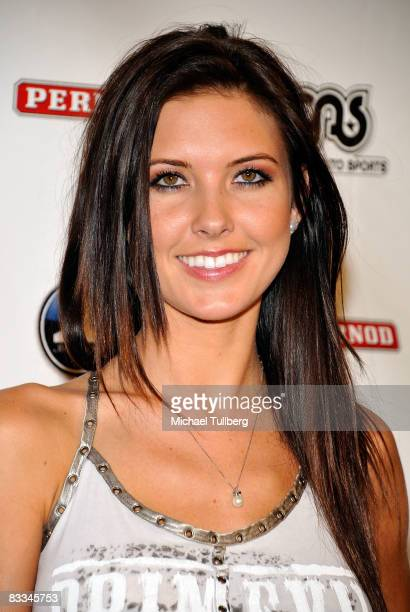 Actress Audrina Partridge arrives at the benefit grand opening of celebrity vehicle customization shop Galpin Auto Sports on October 18 2008 in Van...