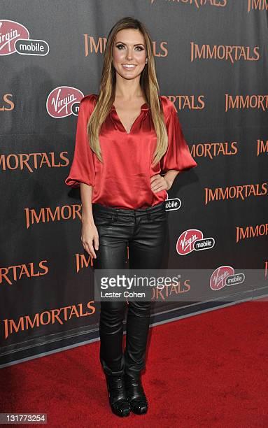 Actress Audrina Patridge arrives at Immortals 3D at Nokia Theatre LA Live on November 7 2011 in Los Angeles California