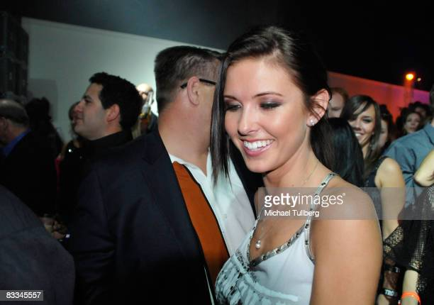 Actress Audrina Patridge partying to the strains of allstar cover band Camp Freddy at the benefit grand opening of celebrity vehicle customization...