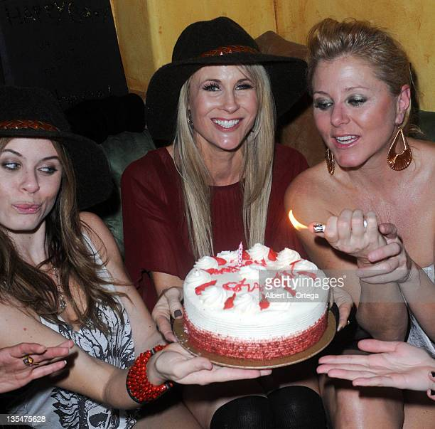 Actress Augie Duke, actress/model Chanel Ryan and actress Noel Thurman participate in Chanel Ryan's Birthday Party held at Bardot on December 9, 2011...