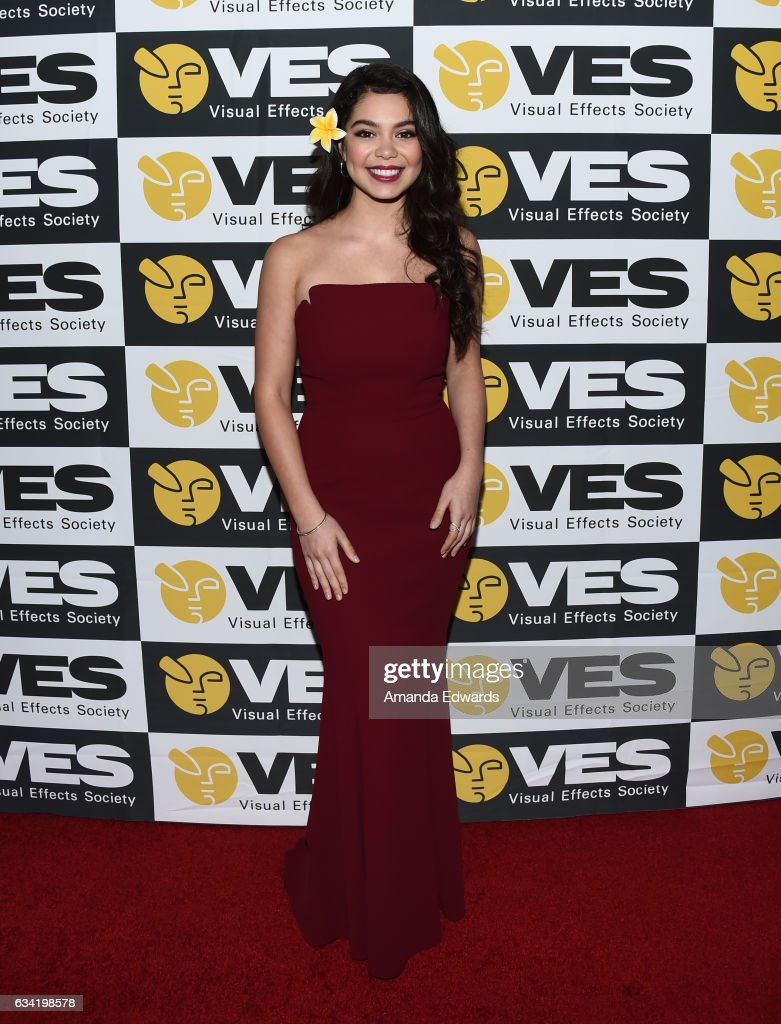 Actress Auli'i Cravalho arrives at the 15th Annual Visual Effects Society Awards at The Beverly Hilton Hotel on February 7, 2017 in Beverly Hills, California.
