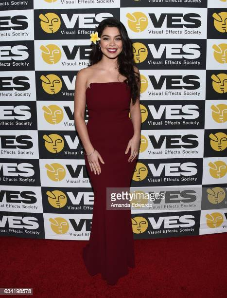 Actress Auli'i Cravalho arrives at the 15th Annual Visual Effects Society Awards at The Beverly Hilton Hotel on February 7 2017 in Beverly Hills...