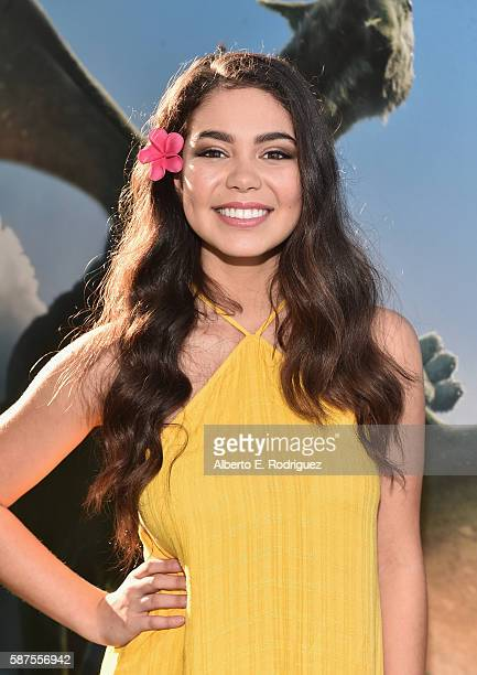 Actress Auli'i Cravalho arrives at the world premiere of Disney's 'PETE'S DRAGON' at the El Capitan Theater in Hollywood on August 8 2016 The new...