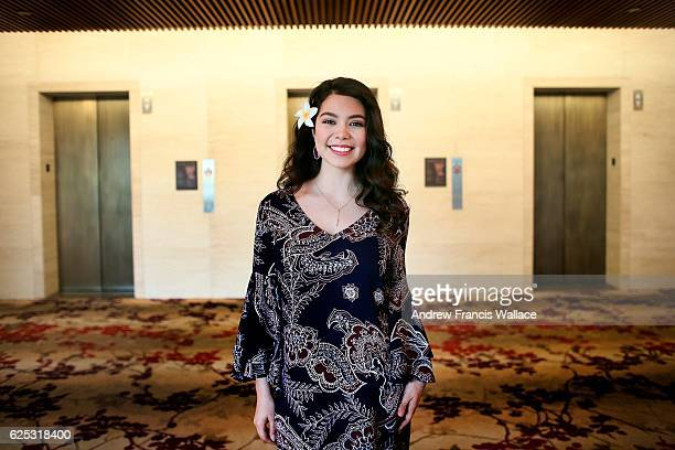 TORONTO ON NOVEMBER 21 Actress Auli'i Cravalho the voice of Moana in the Disney film 'Moana' poses at the ShangriLa Hotel November 21 2016