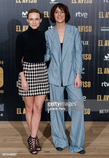 Actress Aura Garrido and actress Belen Cuesta attend the 'El Aviso' photocall at Urso hotel on March 19 2018 in Madrid Spain