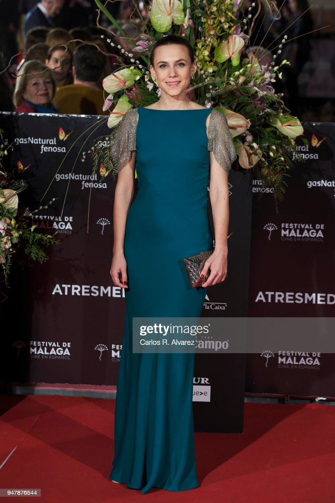 Actress Aura Garrido attends 'Las Distancias' premiere during the 21th Malaga Film Festival at the Cervantes Theater on April 17, 2018 in Malaga, Spain.