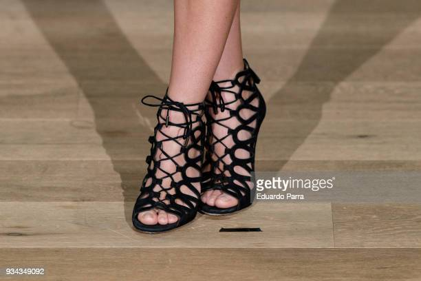Actress Aura Garrido shoe detail attends the 'El Aviso' photocall at Urso hotel on March 19 2018 in Madrid Spain